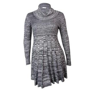 Calvin Klein Women's Cowl Marled Knit Sweater Dress (XL, Black/White) - Black/White