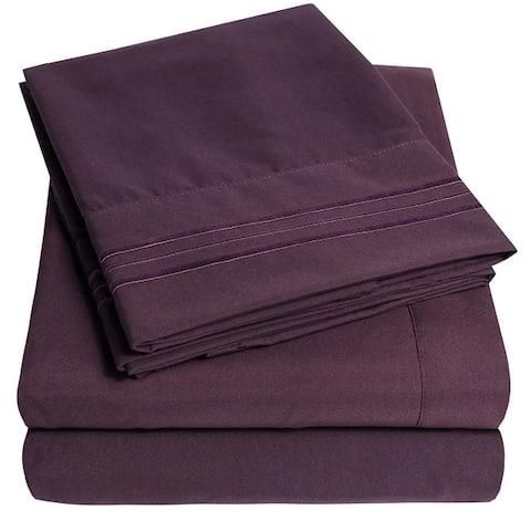 Deep Pocket Soft Microfiber 4-piece Solid Color Bed Sheet Set