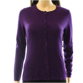Nordstrom NEW Purple Women's XS Perforated Cardigan Cashmere Sweater