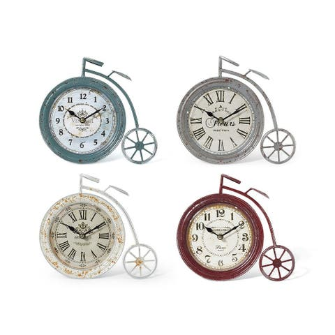 """Set of 4 Green and Brown Classical Style High Wheel Bicycle Clocks 10"""""""