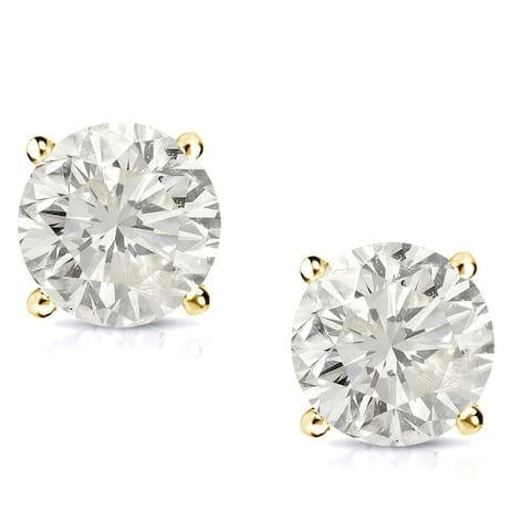 Auriya 14k Gold 1/2ctw Diamond Stud Earrings Clarity-enhanced