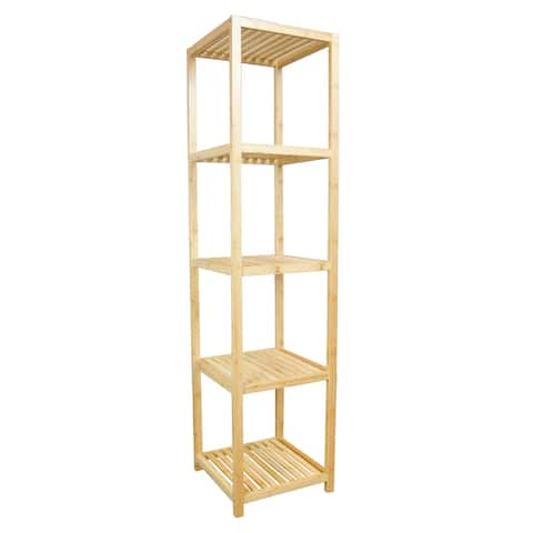 5 Tier Solid Bamboo Slatted Tower Shelf