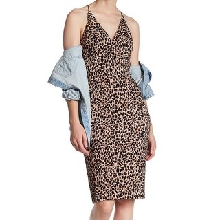 TopShop Womens Leopard Print Woven Sheath Dress