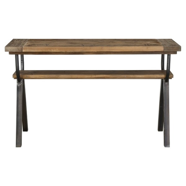 Uttermost 24775 Domini 52 Inch Wide Pine Wood Console Table With Iron Base By Ma