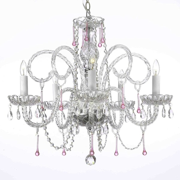 Swarovski Crystal Trimmed Chandelier Lighting Pink Crystal Chandelier Lighting