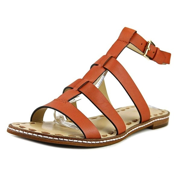 MICHAEL Michael Kors Fallon Flat Women Open-Toe Leather Orange Slingback Sandal