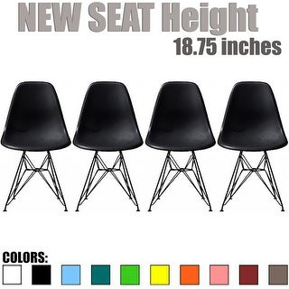 2xhome Modern Plastic Side Dining ChairColorsWith Dark Black Wire Chrome Legs Base (Set of 4)