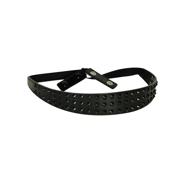 Style & Co. Women's Elastic Studded Panel Belt - Black