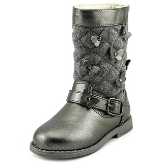 Rampage Girls Lil Gabrielle Toddler  Round Toe Canvas Gray Mid Calf Boot
