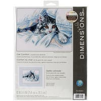 """Cat Comfort Counted Cross Stitch Kit-10""""X8"""" 14 Count"""