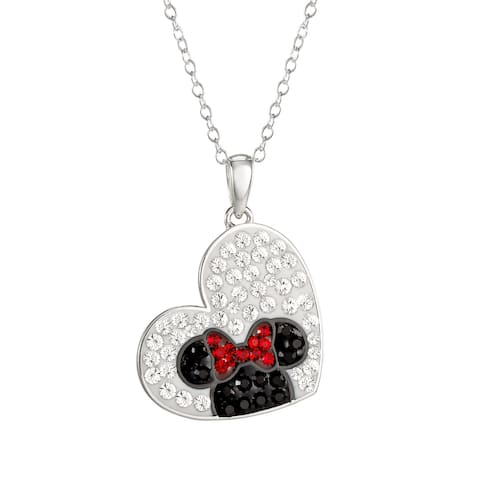 """Disney Minnie Mouse Crystal Sterling Silver Heart Pendant Necklace,18"""" - 18"""""""