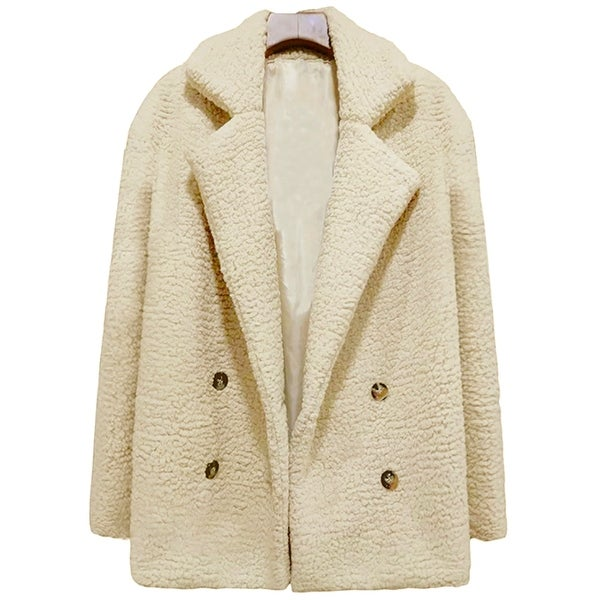 QZUnique Women's Polyester Double-Breasted Cardigan Coat Long Sleeves Plush Lapel Outwear