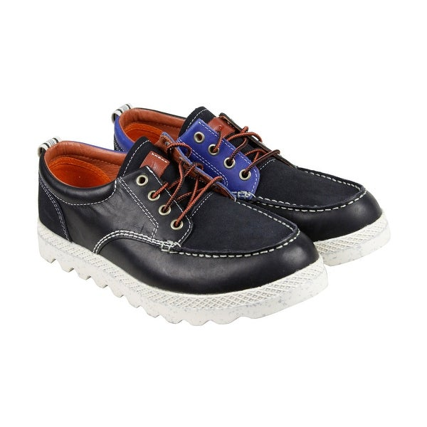 PF Flyers Hughes Mens Black Leather Casual Dress Lace Up Boots Shoes