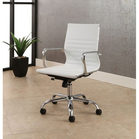 Samuel Silver Adjustable Leather Office Chair by Abbyson