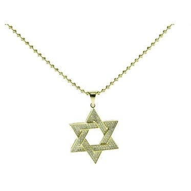 Gold Plated Star of David Pendant with Cubic Zirconia and Italian Made Sterling Silver Moonball Chain