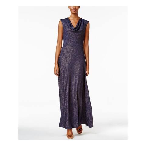 TAHARI Womens Navy Glitter Cap Sleeve Cowl Neck Full Length Sheath Evening Dress Size: 16