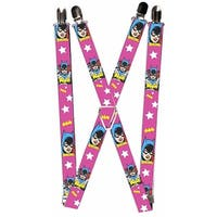 """Batgirl Face Pose W Logo & Stars Pink White Yellow Suspenders   1.0"""" Wide - S"""
