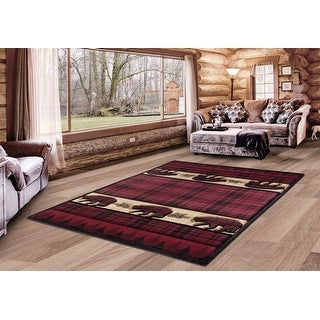Link to Westfield Home Graham Grizzly Way Burgundy Hand-Carved Area Rug Similar Items in Rustic Rugs