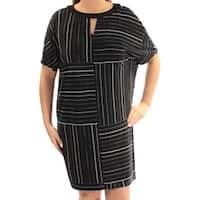 AMERICAN LIVING Womens Black Striped Dolman Sleeve Keyhole Above The Knee Shift Dress  Size: 6