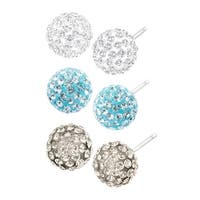 Crystaluxe Set of 3 Ball Stud Earrings with Swarovski elements Crystals in Sterling Silver