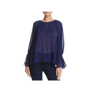 Ella Moss Womens Blouse Pleated Bell Sleeves