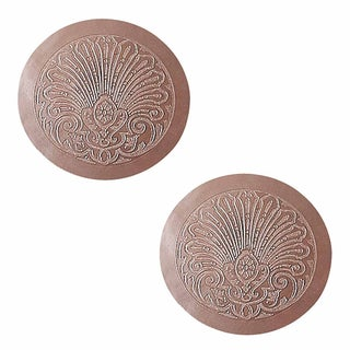 2 Chair Seats Tan Leather Round 12 Dia Embossed Set of 2 Renovator's Supply