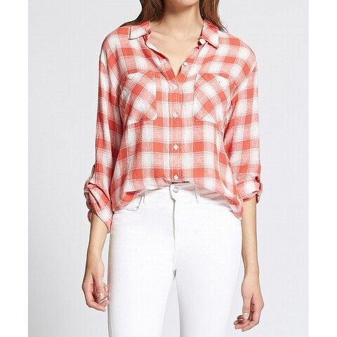 Sanctuary Red Womens Size XS Plaid-Print Button-Front Boyfriend Top