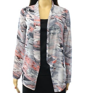 Lush NEW Silver Coral Womens Small S Open-Front Print Cardigan Sweater