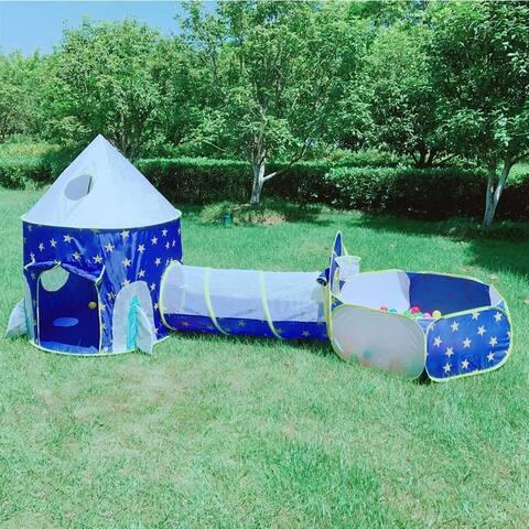 3 in 1 Rocket Ship Play Tent - Indoor/Outdoor Playhouse Set