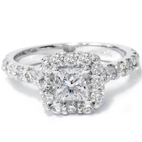 Princess Cut Diamond Engagement Ring 1.10Ct Halo Band 14k White Gold