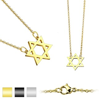 Star of David Pendant 316L Stainless Steel Chain Necklace (1.5 mm) - 20 in