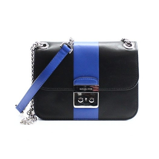 ced918ec976f Shop Michael Kors NEW Black Blue Center Striped Sloan Editor Messenger Purse  - Free Shipping Today - Overstock - 19960995