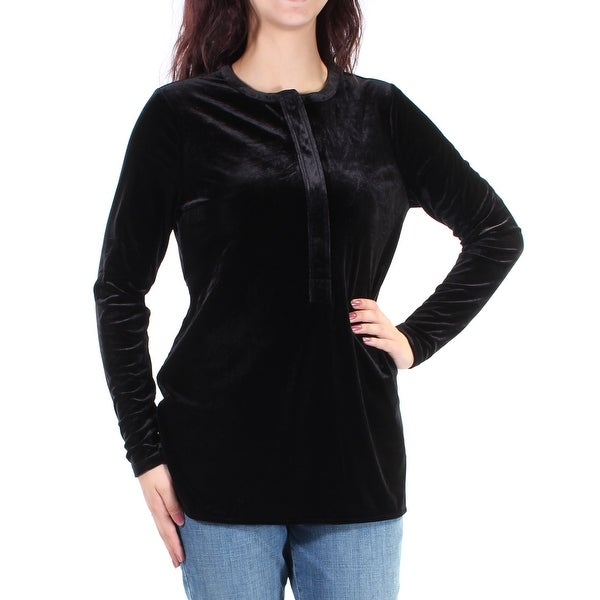 2a745345f4d3 Shop Ralph Lauren Womens Black Velvet Long Sleeve Jewel Neck Top Size: L -  Free Shipping On Orders Over $45 - Overstock - 24082993