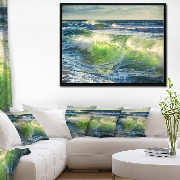 Designart 'Sunrise and Shining Waves in Ocean' Beach Photo Framed Canvas Print. Opens flyout.
