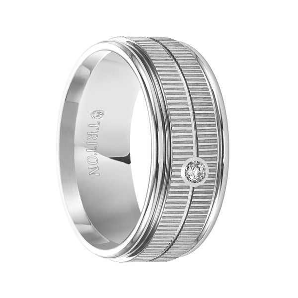 SOLOMON Diamond Setting Dual Coin Edge Center Men's Wedding Band with Polished Edges by Triton Rings - 9mm