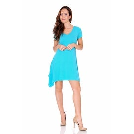 Simply Ravishing Women's Short Sleeve Stretch V Neck Swing Handkerchief Hem Dress Medi Dress