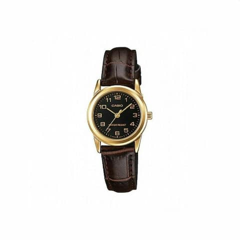 Casio Women's LTPV001GL-1B 'Dress' Brown Leather Watch - Black