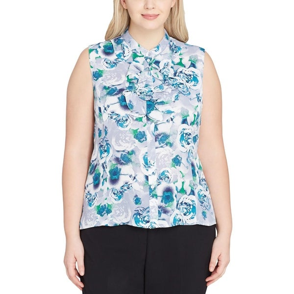 844d53bb Shop Tahari Womens Plus Button-Down Top Cascade Ruffle Floral Print - Free  Shipping On Orders Over $45 - Overstock.com - 25730935