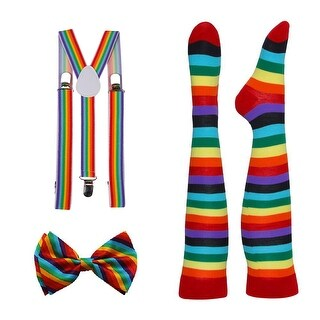 Rainbow Pride Alliance Pride Suspender, Long Socks, and Bowtie Combo Kit - One size