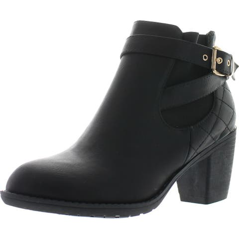 Top Moda Women's Place-2 Quilted Leather Medium Heel Rubber Sole Buckle Ankle Boot