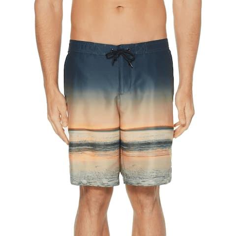 Perry Ellis Mens Swimwear Blue Beige Size XL Sunset Drawstring Trunks