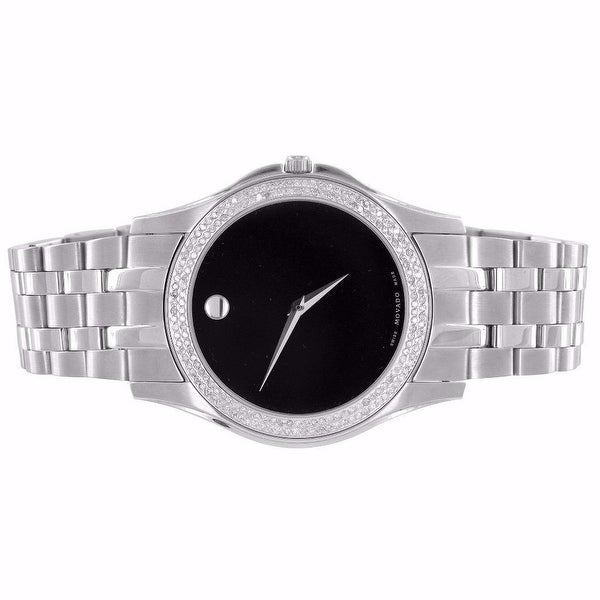 Movado Corporate Exclusive Watch 1.0 Ct Diamonds Black Dial Swiss Made Mens 38mm