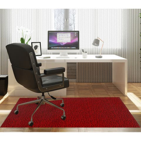 LEOPARD PRINT RED Office Mat By Kavka Designs