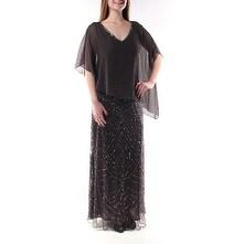 $279 JKARA Black, Gray V Neck Dolman Sleeve Formal Sheath Dress 8 B+B