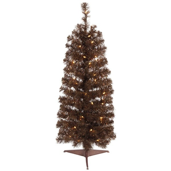 2' Pre-Lit Chocolate Brown Pencil Artificial Christmas Tree - Clear Lights