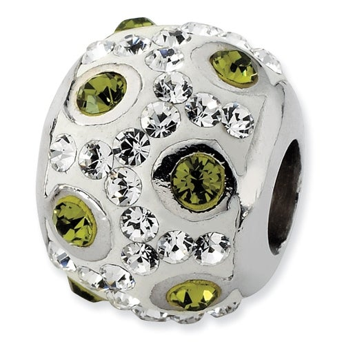 Sterling Silver Reflections White & Green Crystal Bead