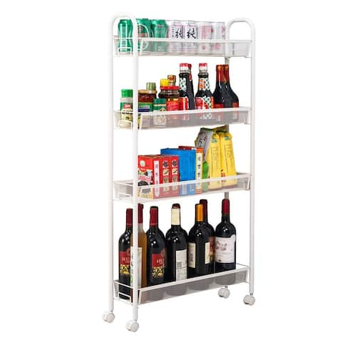 """21""""Four Layers Honeycomb Mesh Style Removable Storage Cart Ivory White"""