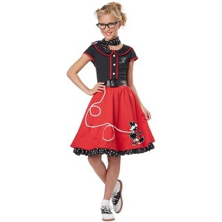 California Costumes 50's Sweetheart Child Costume (Black/Red) - Red