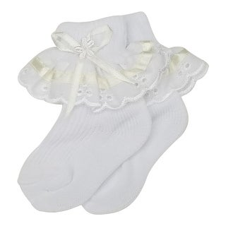 Kids BB Baby Girls White Yellow Band Ruffle Bow Accent Socks