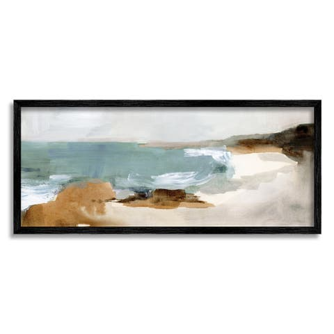 Stupell Industries Cloudy Grey Beach Landscape Abstraction Crashing Waves Framed Wall Art